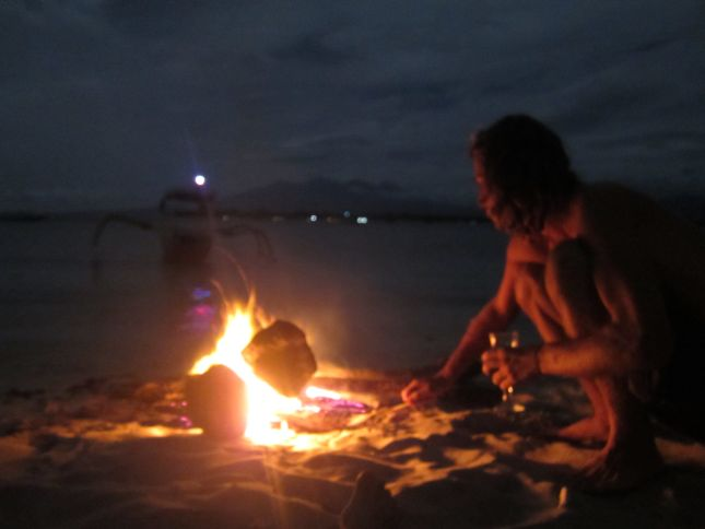Gili Trawangan fire on the beach