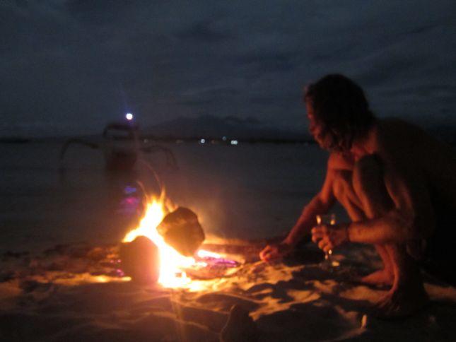 Gili Trawangan fire on the beach